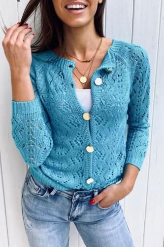 Bomshe Hollow-out Buttons Design Blue Cardigan·Presale