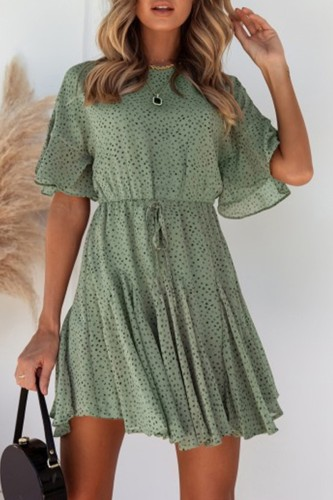 Bomshe Smocked Waist Flounce Design Green Mini Dress(2 Colors)