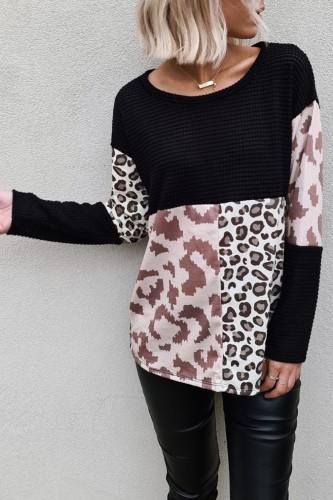 Bomshe O Neck Print Patchwork Black Sweater