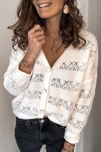 Bomshe Buttons Design Patchwork White Cardigan