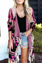 Bomshe Print Tassel Design Red Cardigan