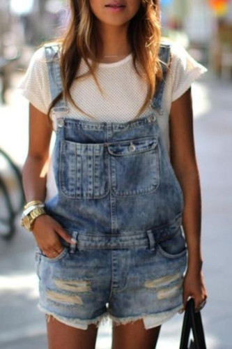 Bomshe Broken Holes Blue Denim One-piece Romper