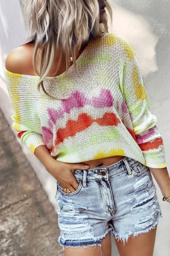 Bomshe V Neck Tie-dye Yellow Sweater
