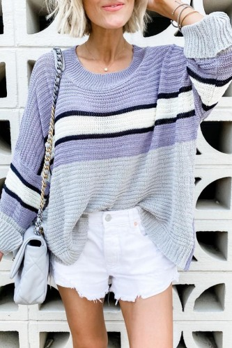 Bomshe O Neck Patchwork Purple Sweater( 2 Colors)