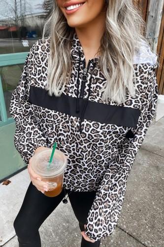 Bomshe Hooded Collar Leopard Print Hoodie