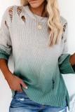 Bomshe O Neck Gradient Broken Holes Green Sweater