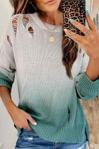 Bomshe O Neck Gradient Broken Holes Green Sweater