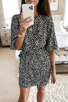 Bomshe Floral Print Tie Waist Black Mini Dress