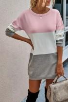 Bomshe Color Lump Patchwork Pink Mini Dress