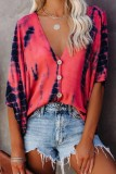 Bomshe Tie-dye Button Up Red Blouse