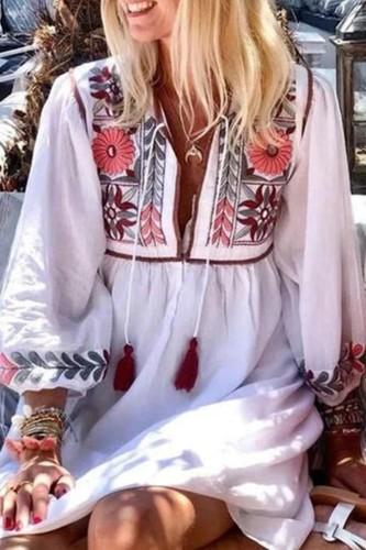 Bomshe Plants Print Loose White Mini Dress