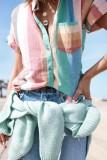 Bomshe Turndown Collar Rainbow Striped Multicolor Shirt