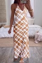 Bomshe Spaghetti Strap Tie-dye Brown Maxi Dress
