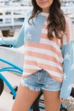 Bomshe Independence Day Print Patchwork Blue T-shirt