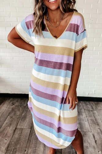 Bomshe Rainbow Striped Purple Mid Calf Dress