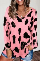 Bomshe Leopard Print Loose Pink T-shirt(3 Colors)
