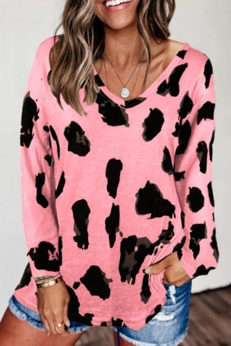 Bomshe Leopard Print Loose Pink T-shirt(3 Colors)