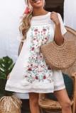 Bomshe Embroidery Print Patchwork White Mini Dress