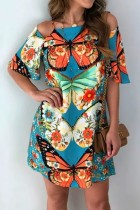 Bomshe O Neck Butterfly Print Baby Blue Mini Dress