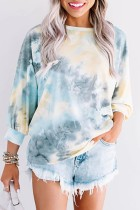 Bomshe O Neck Tie-dye Grey T-shirt