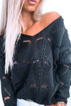 Bomshe V Neck Hollow-out Black Sweater