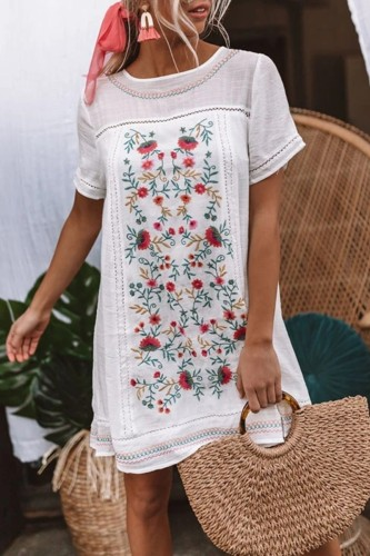 Bomshe Embroidery Print Patchwork White Mini Dress