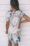 Bomshe Tie-dye Blue T-shirt Mini Dress