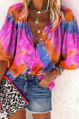Bomshe Tie-dye Loose Rose Red Blouse