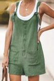 Bomshe Buttons Design Pocket Patched Army Green One-piece Romper