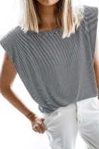 Bomshe O Neck Striped Black T-shirt
