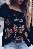Bomshe Dew Shoulder Print Black Blouse