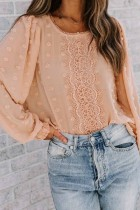 Bomshe O Neck Lace Patchwork Pink Blouse