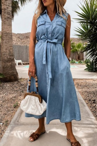 Bomshe Sleeveless Lace-up Baby Blue Midi Denim Dress