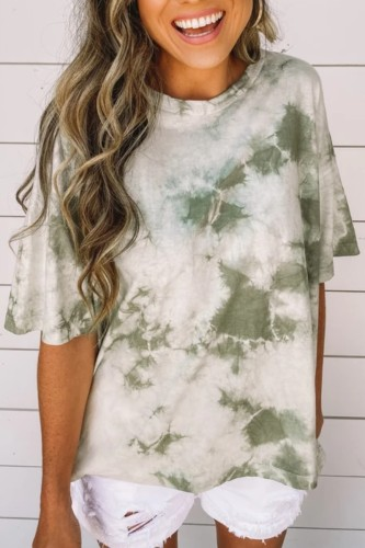 Bomshe O Neck Tie-dye Green T-shirt(2 Colors)