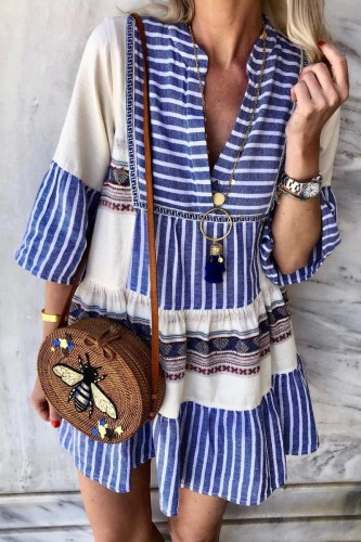 Bomshe Striped Patchwork Blue Mini Dress