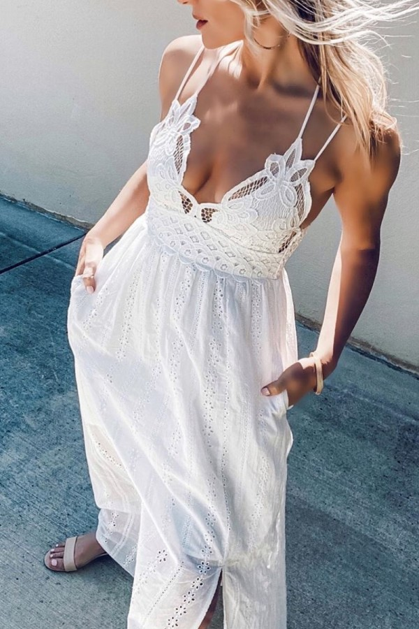 Bomshe Spaghetti Strap Lace Hollow-out White Maxi Dress