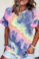 Bomshe O Neck Tie-dye Purple T-shirt