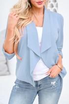 Bomshe Turndown CollarAsymmetrical Blue Blazer(3 Colors)