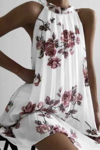 Bomshe Mandarin Collar Plants Print White Mini Dress