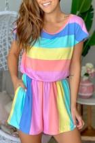 Bomshe O Neck Rainbow Striped Multicolor One-piece Romper