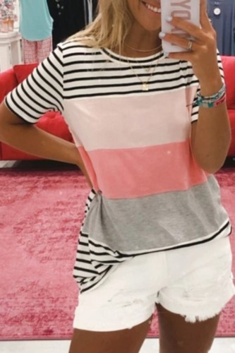 Bomshe O Neck Striped Patchwork Multicolor T-shirt