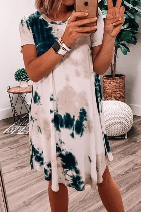 Bomshe Loose Tie-dye Blue Mini Dress