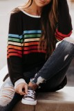 Bomshe O Neck Rainbow Striped Black Sweater(2 Colors)