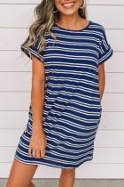 Bomshe O Neck Striped Dark Blue Mini Dress