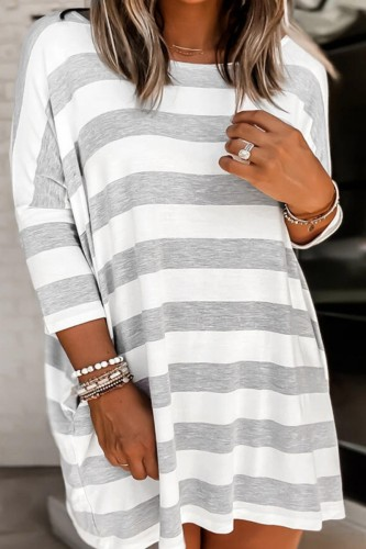 Bomshe Loose Striped Grey Mini Dress
