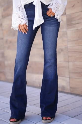 Bomshe Basic Flared Blue Jeans