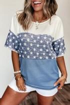 Bomshe Color Lump Pentagram Print Patchwork Skyblue T-shirt