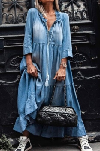 Bomshe Fold Design Loose Baby Blue Maxi Denim Dresses
