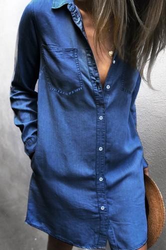 Bomshe Turndown Collar Buttons Design Blue Mini Denim Dress