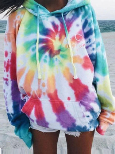 Bomshe Drawstring Tie-dye Multicolor Hoodie(2 Colors)